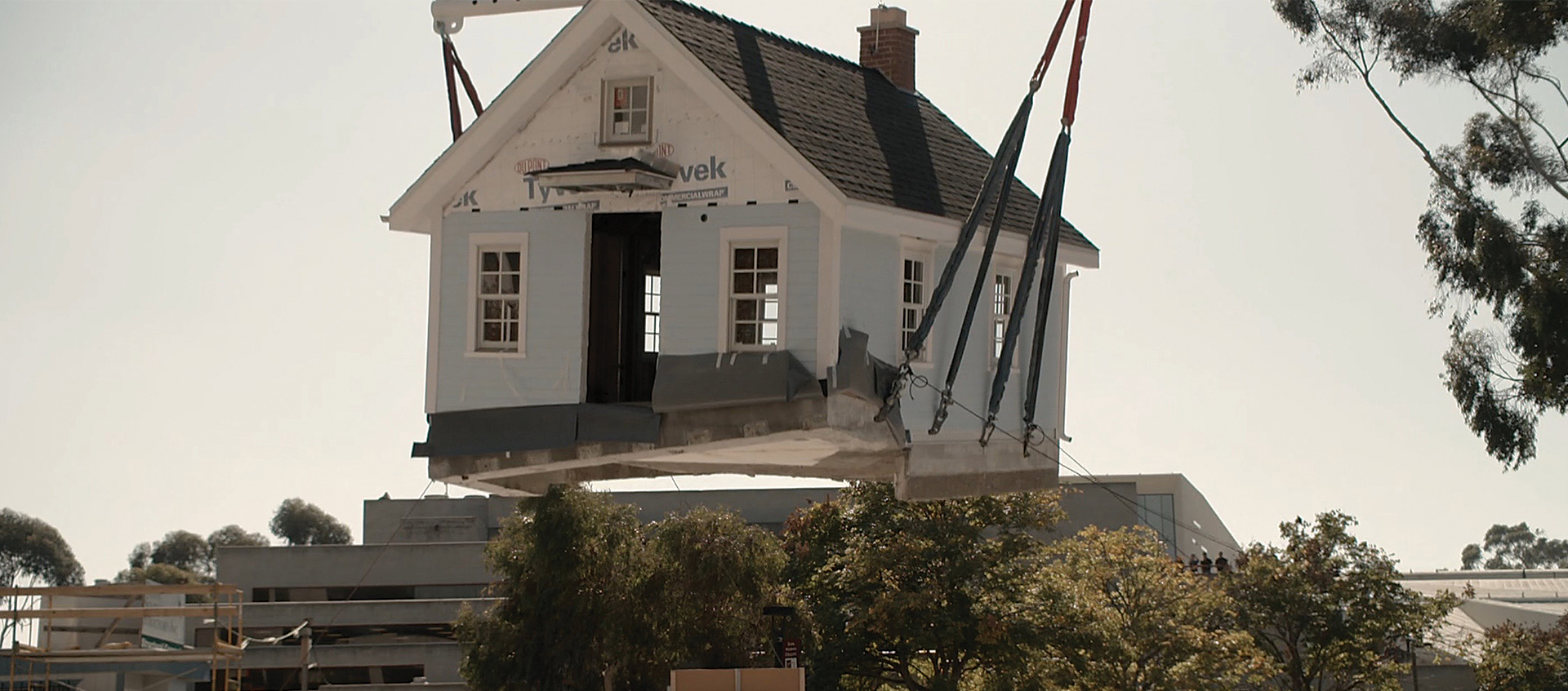 House being lifted during construction