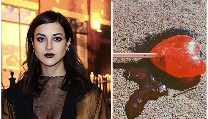 images side by side; one of Malu Marzarotto and the other of a melting heart shaped lollipop on pavement