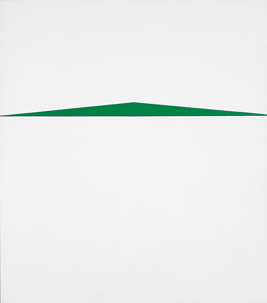 Two panel white canvas with geometric green triangle