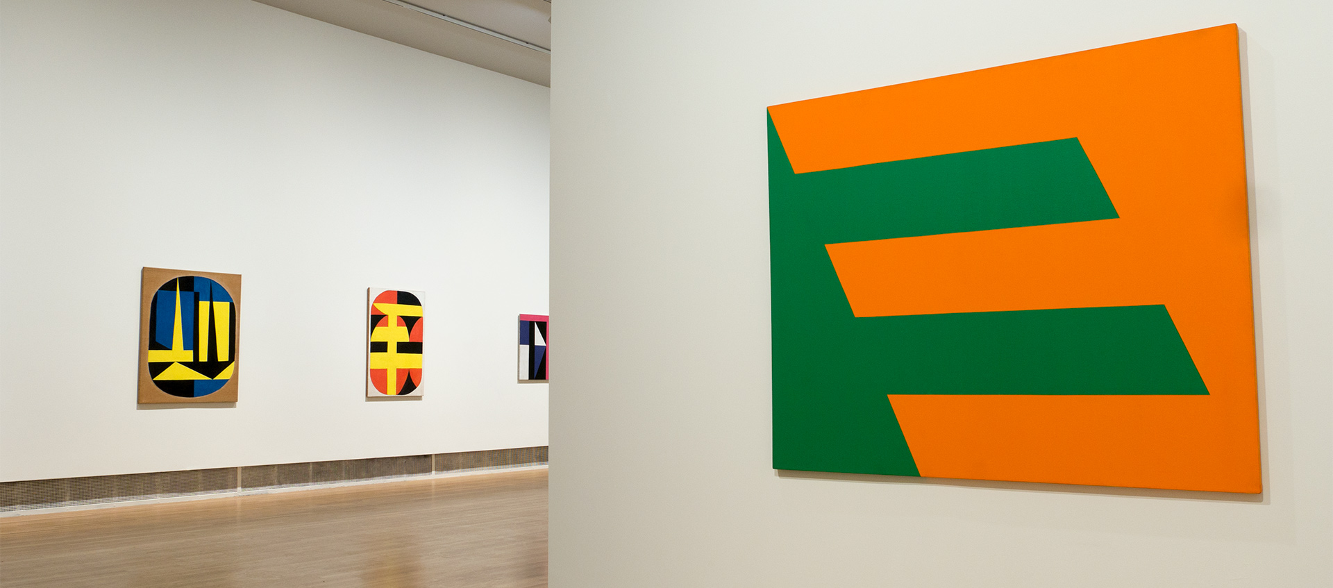 Installation of Carmen Herrera works at the entrance to the Wexner Center galleries