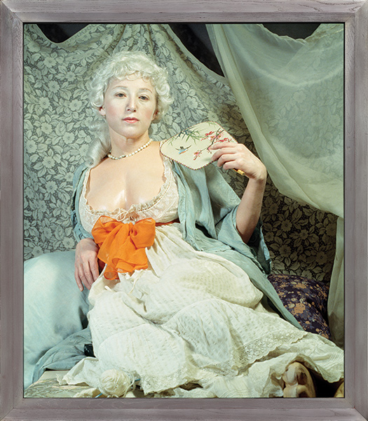 Color portrait of Cindy Sherman dressed to look like a historical painting