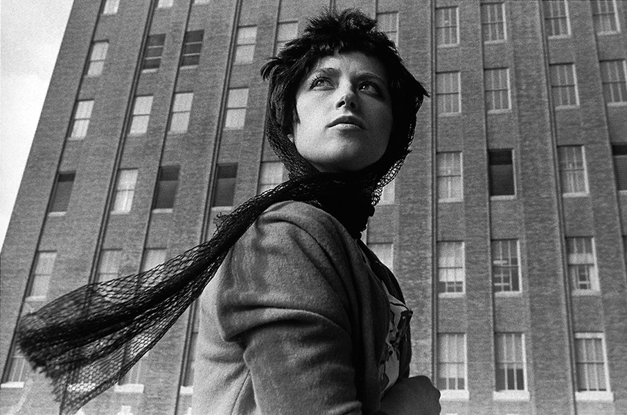 Black and white portrait of Cindy Sherman reminiscent of a classic Hollywood film