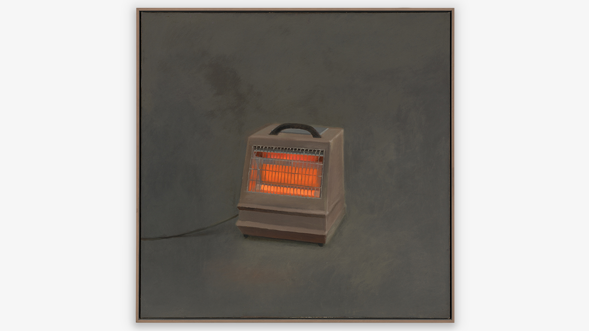 Painting of a portable space heater glowing orange