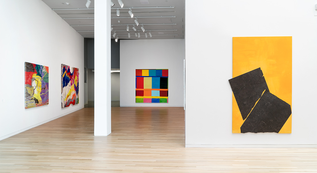 Installation photograph of Channing Hansen, Stanley Whitney, and Sam Moyer in the Wexner Center galleries.