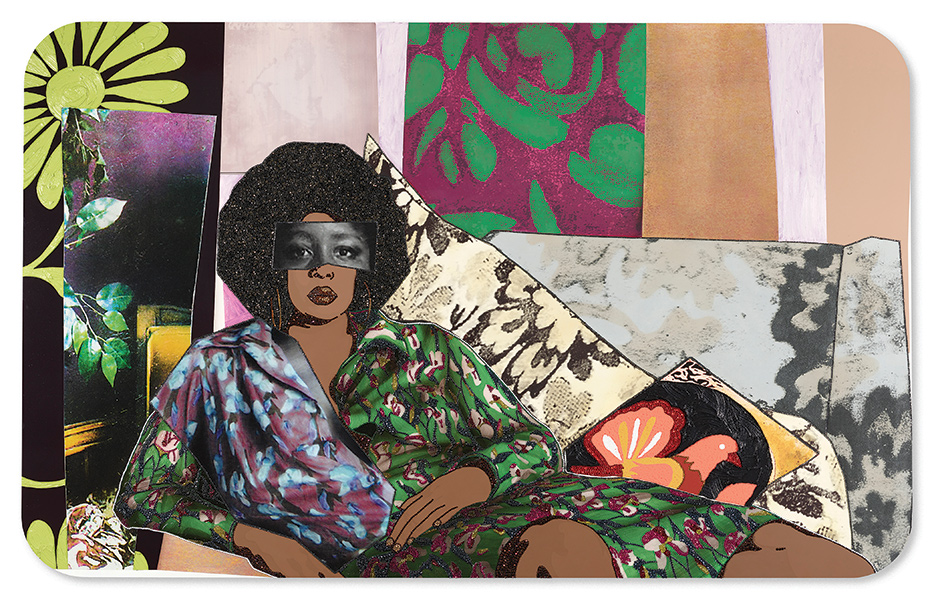 Self portrait painting of Mickalene Thomas lounging on a couch in textural patterns