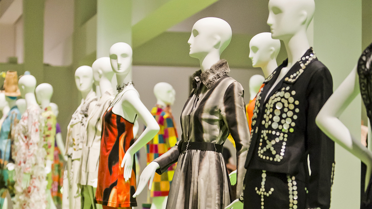 mannequins modeling some of Todd Oldham's creations