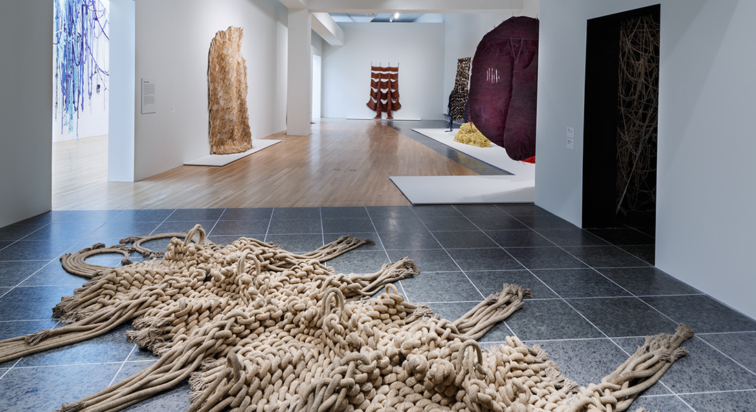 Installation view of several textile works in the Wexner Center galleries