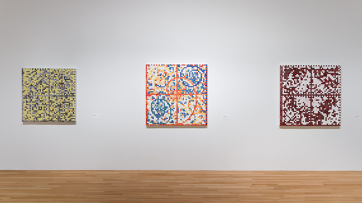 Line-up of three Jack Whitten paintings in the Wexner Center galleries