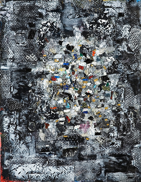 Layered abstract painting with black and white background and colored fragments