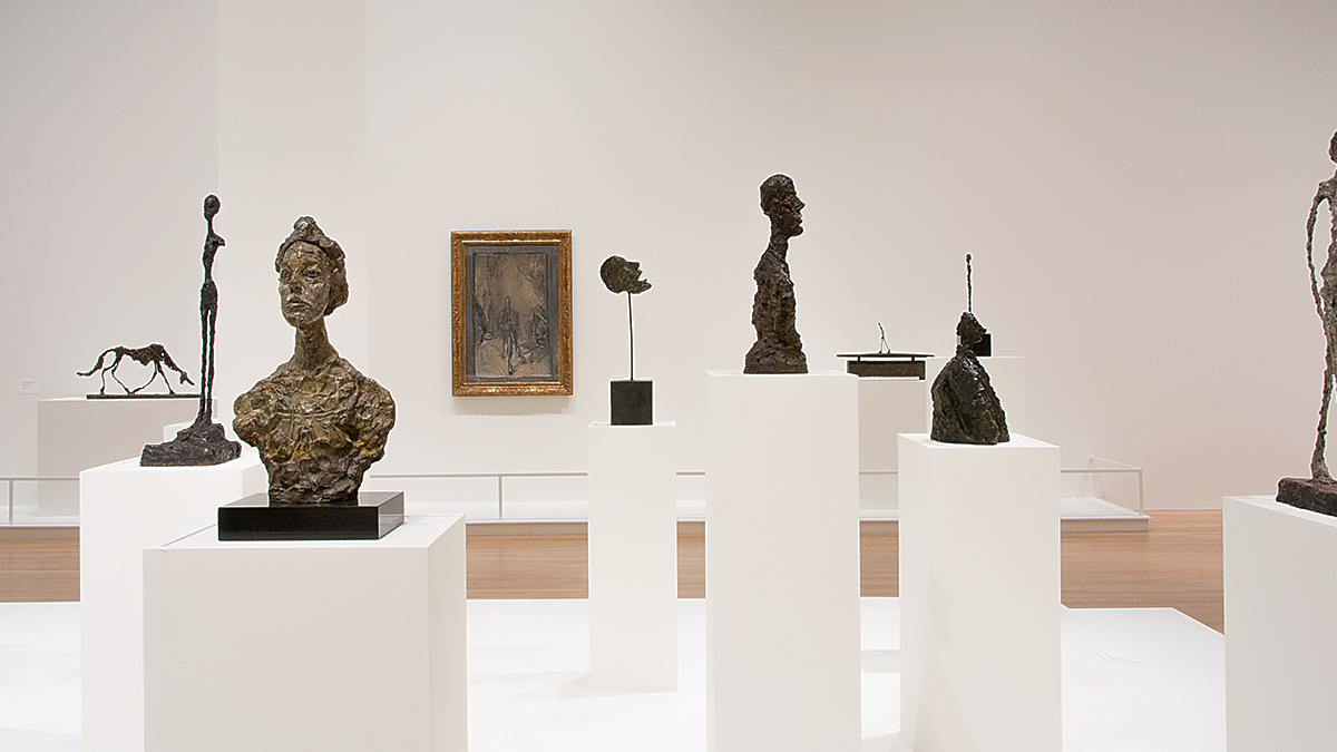 Installation view of several sculptures in the Wexner Center galleries