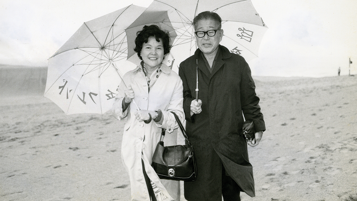 Family picture of filmmaker's grandparents on the beach