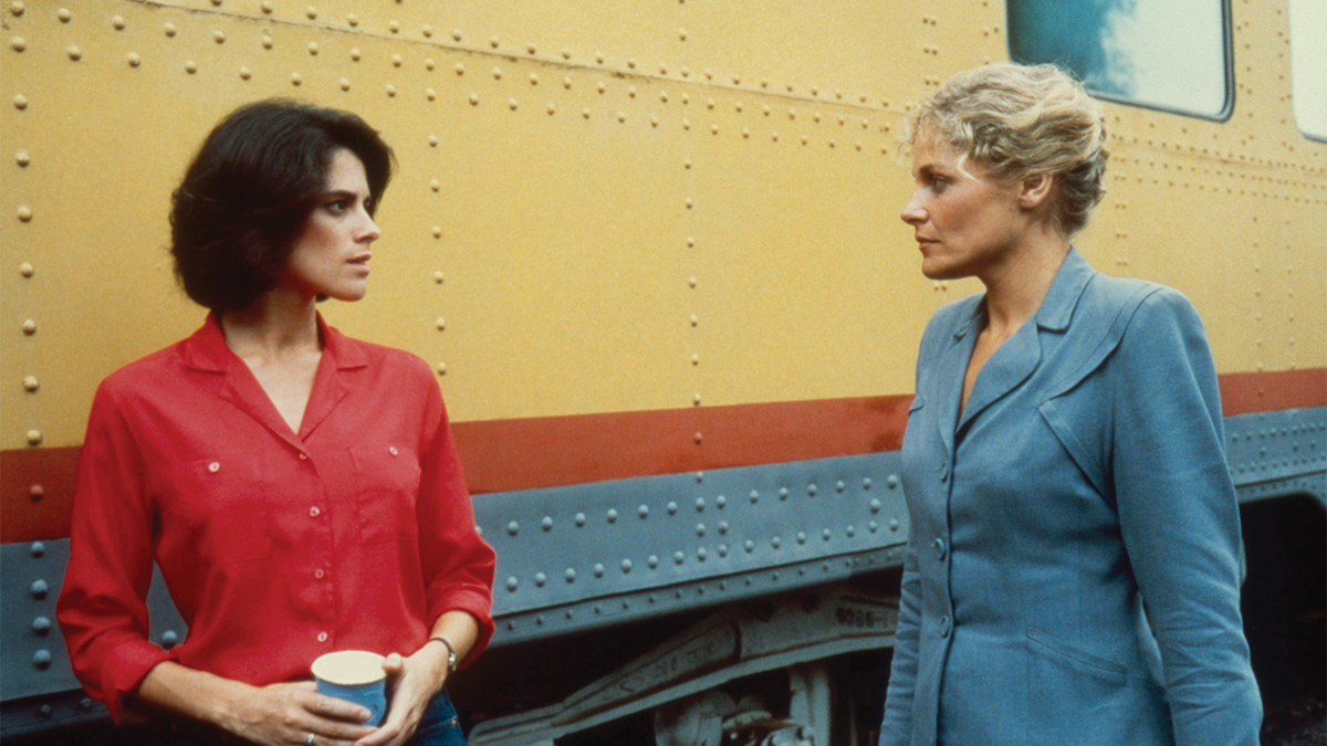 Film still of two women confronting each other.