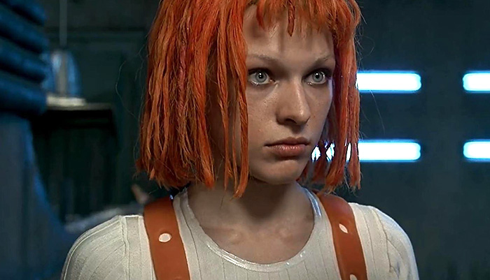 a film grab of Leeloo (Milla Jovovich)