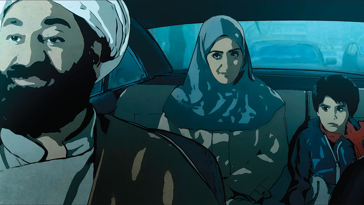 Film still of an Iranian woman and child in a taxi