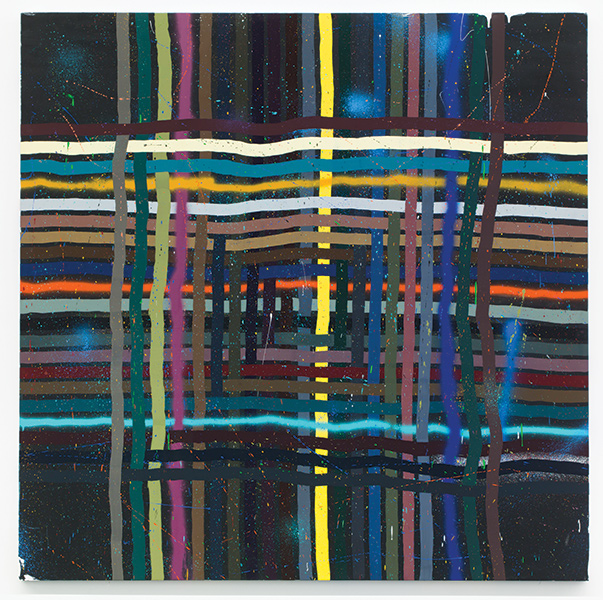 Alicia McCarthy painting with colorful lines creating a woven-like appearance