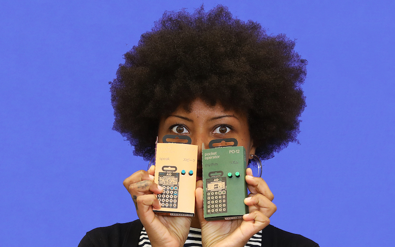 Wexner Center for the Arts House Management staffer Valerie Glenn with holiday gift suggestion of Pocket Operators portable synthesizers by Teenage Engineering