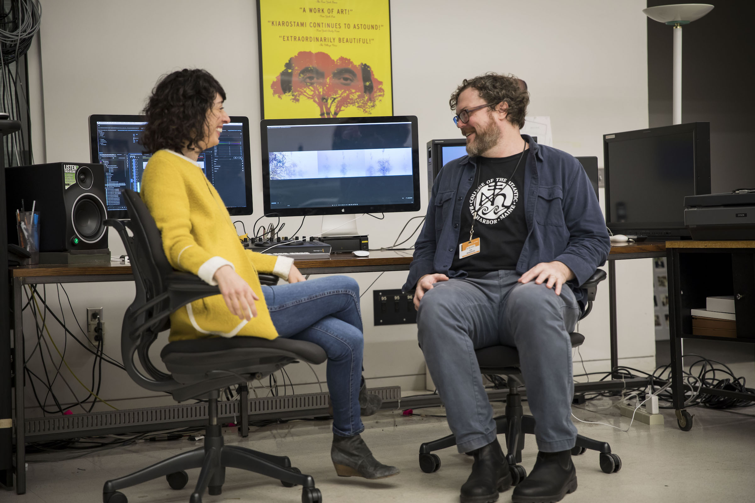 "Artist and filmmaker Hope Ginsburg works with collaborator Joshua Quarles on her latest video project, ""Swirling,"" in an editing suite at the Wexner Center for the Arts Film/Video Studio in October 2018"