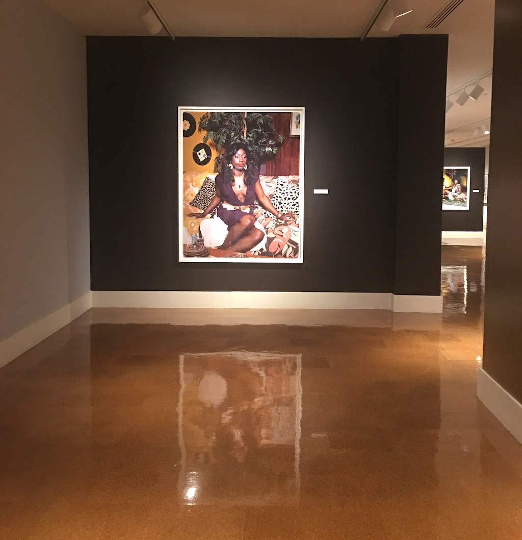 An installation shot of Portrait of Qusuquzah by artist Mickalene Thomas at the Dayton Art Institute