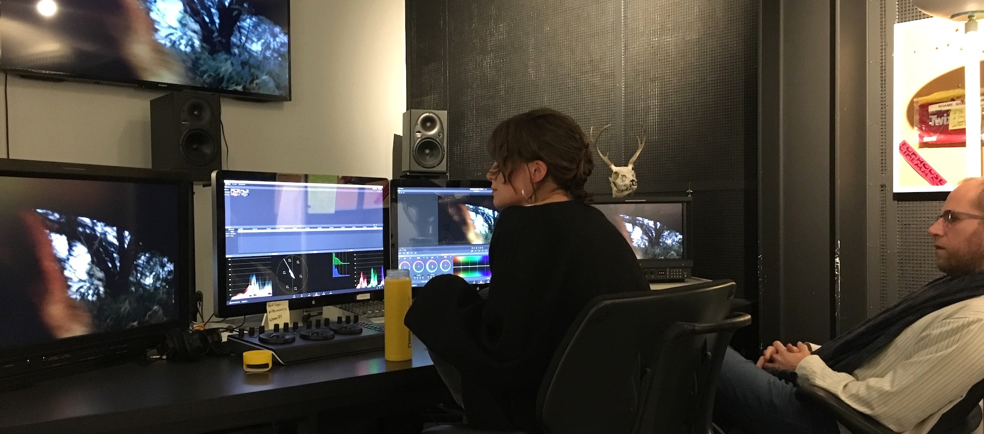 Filmmakers J.P. Sniadecki & Lisa Malloy complete post-production work on The Shape of Things to Come in the Wexner Center Film/Video Studio
