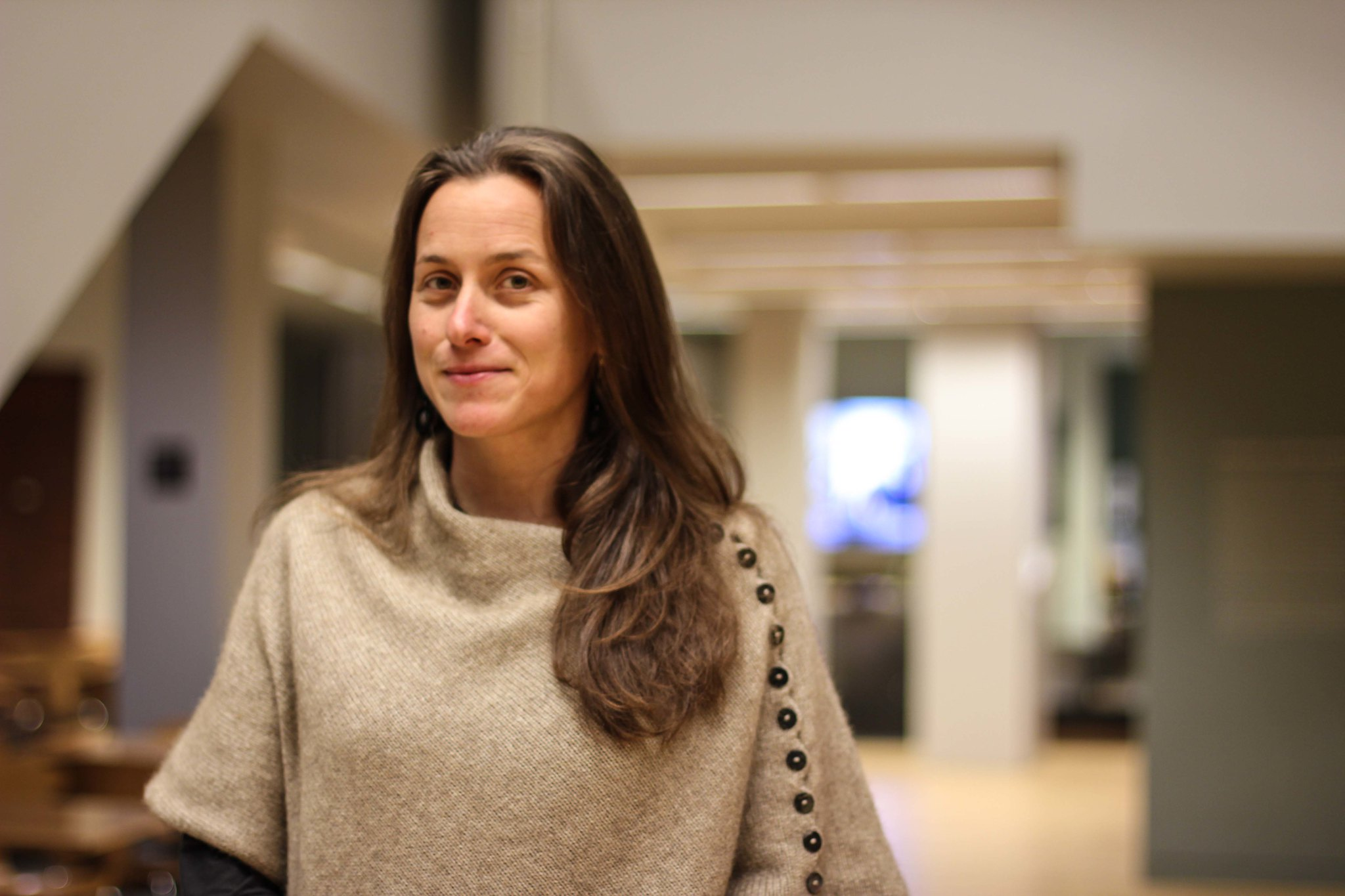 Filmmaker Natalia Almada in the lobby of the Wexner Center for the Arts at The Ohio State University during a September 26, 2012 visit to introduce her film El Veledor