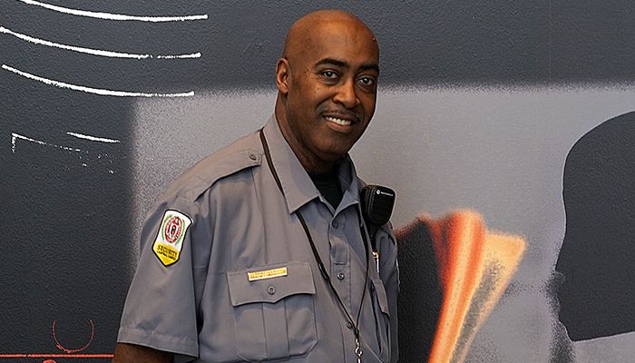 Charles Glasco, a security guard at the Wexner Center for the Arts at The Ohio State University, in the galleries on his last work day before retirement—May 31, 2019