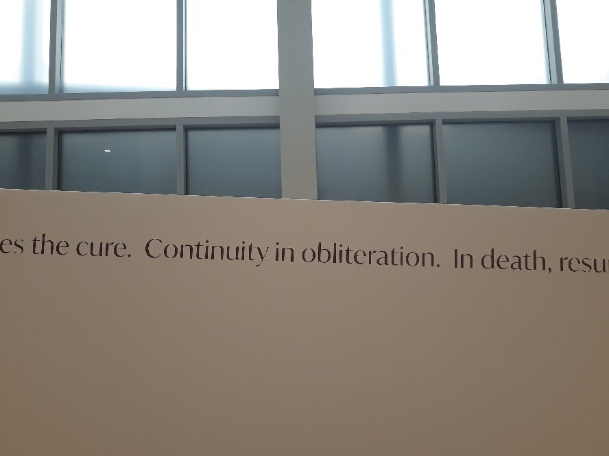 Image of a Precario sculpture made by artist Cecilia VicuñA poem written by Cecilia Vicuña, seen as wall text. Work is on view at the Wexner Center for the Arts in the exhibition Cecilia Vicuña: Lo Precario/The Precarious