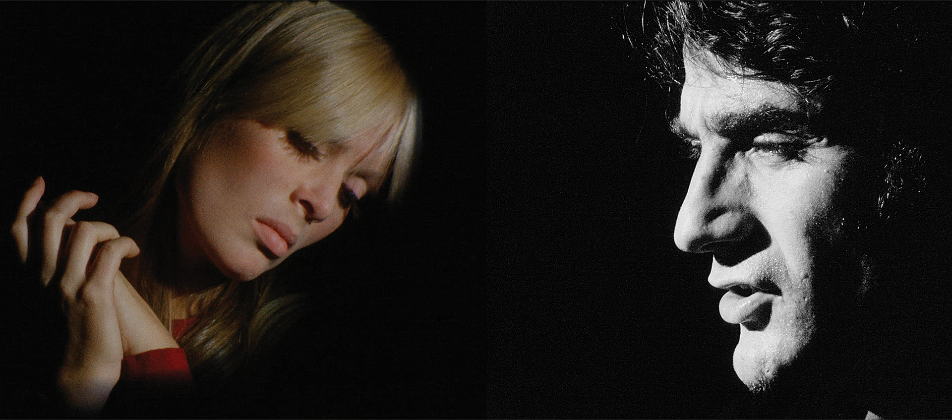Nico and Ondine in a scene from Andy Warhol's double screen artwork The Chelsea Girls
