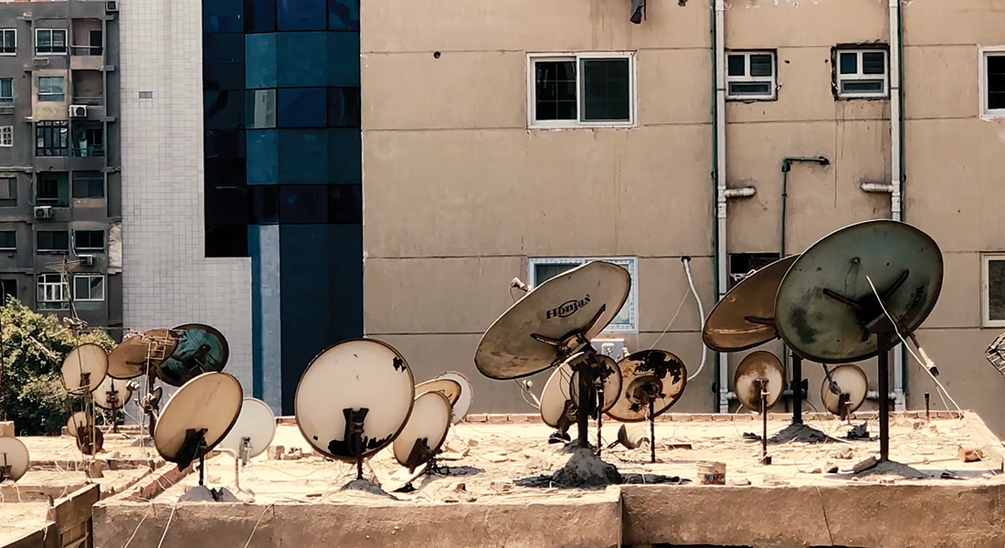 Roof full of receiver dishes