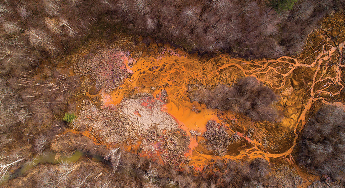 Acid Mine Drainage near Oreton, Ohio – Aerial View
