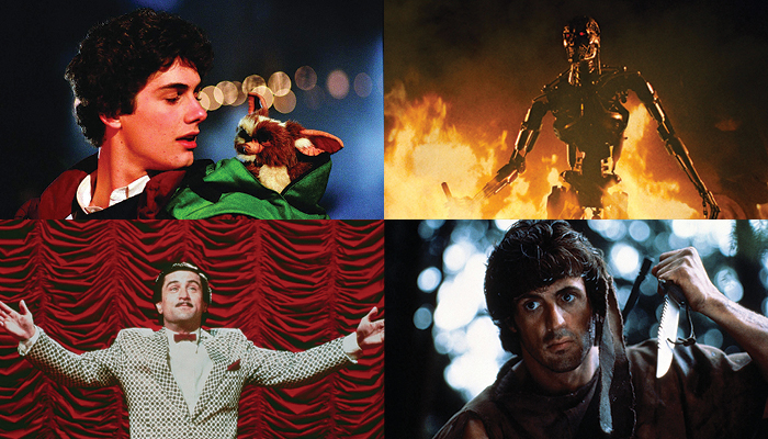 A collage of images from the films Gremlins, The Terminator, The King of Comedy, and First Blood, created for the Wexner Center for the Arts film series Make My Day: Movie Culture in the Age of Reagan, based on the book by film critic J. Hoberman