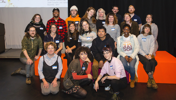 Representatives of current and past DIY artist spaces in Ohio pose together for a photo during the public event hear here: artist-run spaces and collectives in Ohio November 16, 2019 at the Wexner Center for the Arts