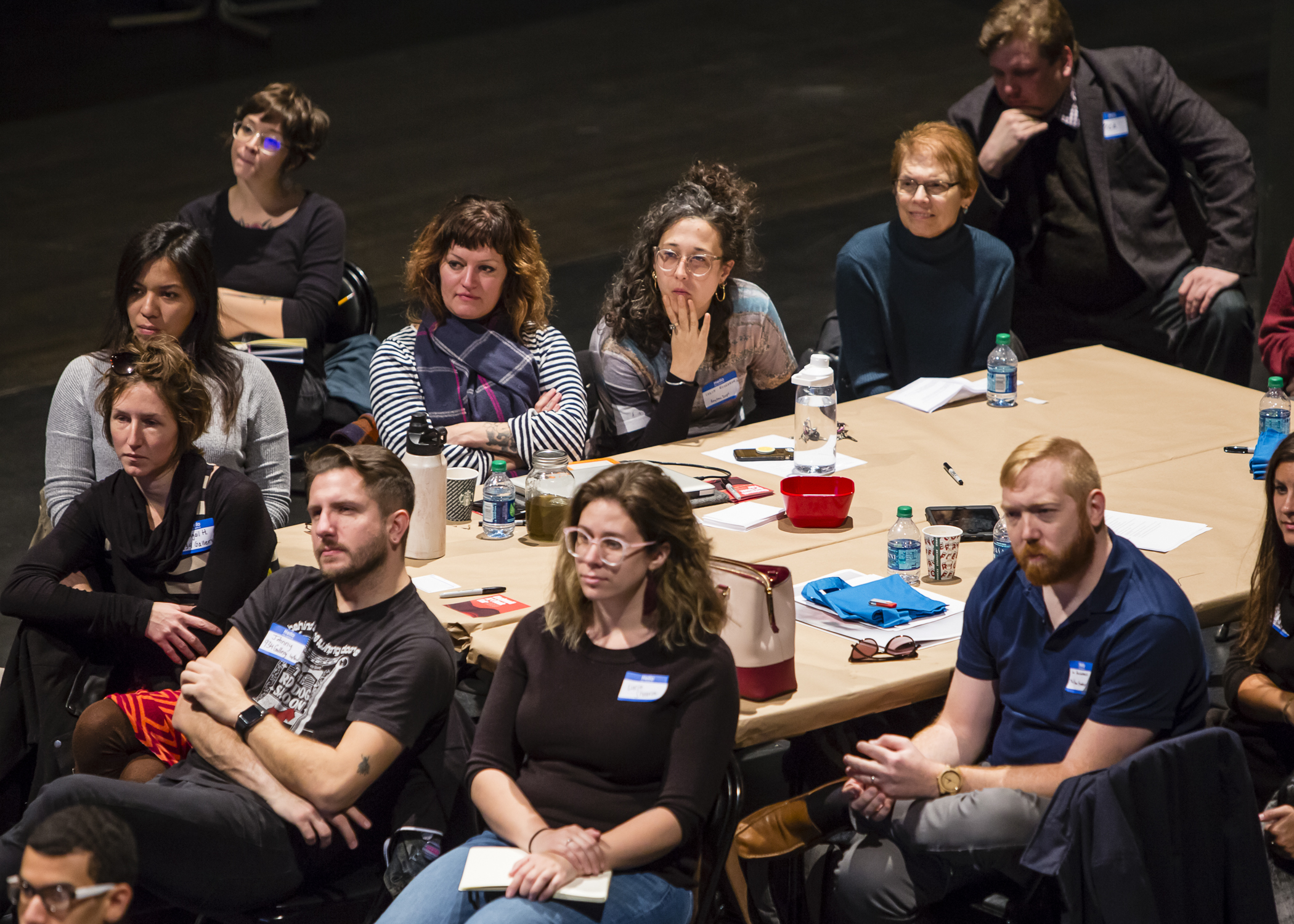 A table of participants at the November 16, 2019 event hear here: artist-run spaces and collectives in Ohio, in the Performance Space at the Wexner Center for the Arts. Photo: Katie Spengler Gentry