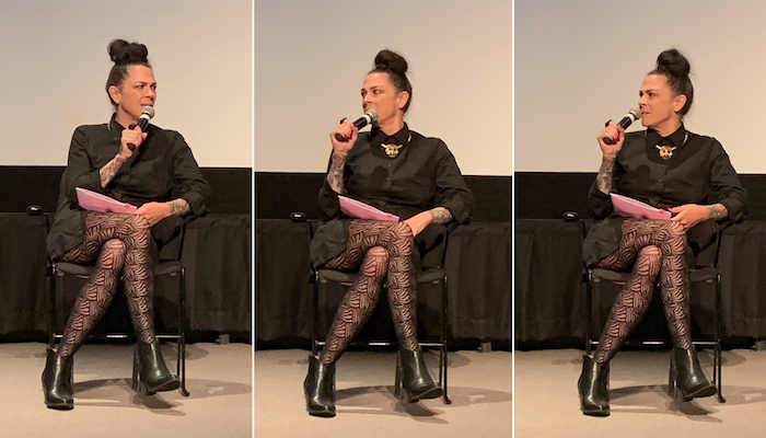 Three side-by-side vertical images of filmmaker Jennifer Reeder sitting in a chair on the stage of the Film/Video Theater at the Wexner Center for the Arts on September 13, 2019. Photos: Melissa Starker