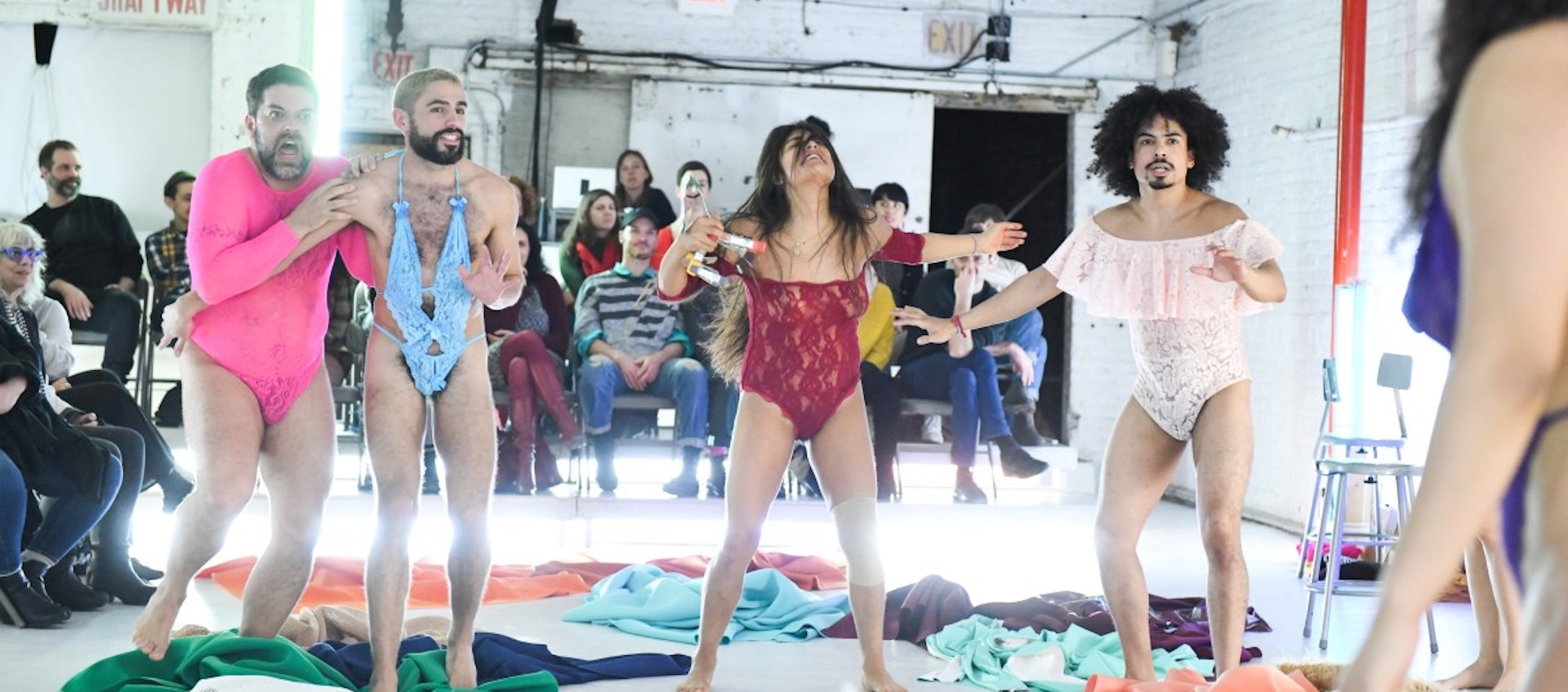 A performance still of theater artist Miguel Gutierrez and his company during the performance work This Bridge Called My Ass