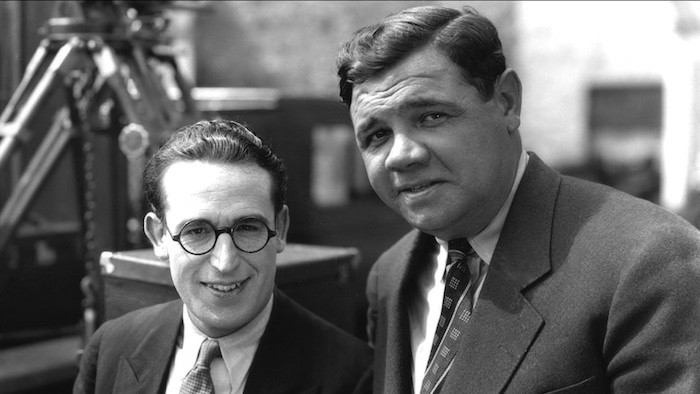 Vintage black and white photo of silent film comedian Harold Lloyd and baseball legend Babe Ruth
