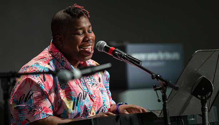 Columbus singer-songwriter performs and play keyboards on the stage of the Film/Video Theater of the Wexner Center for the Arts in January 2020