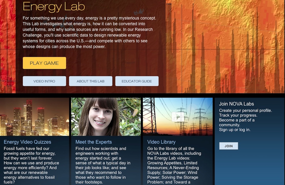 Website for PBS Nova Learning Labs