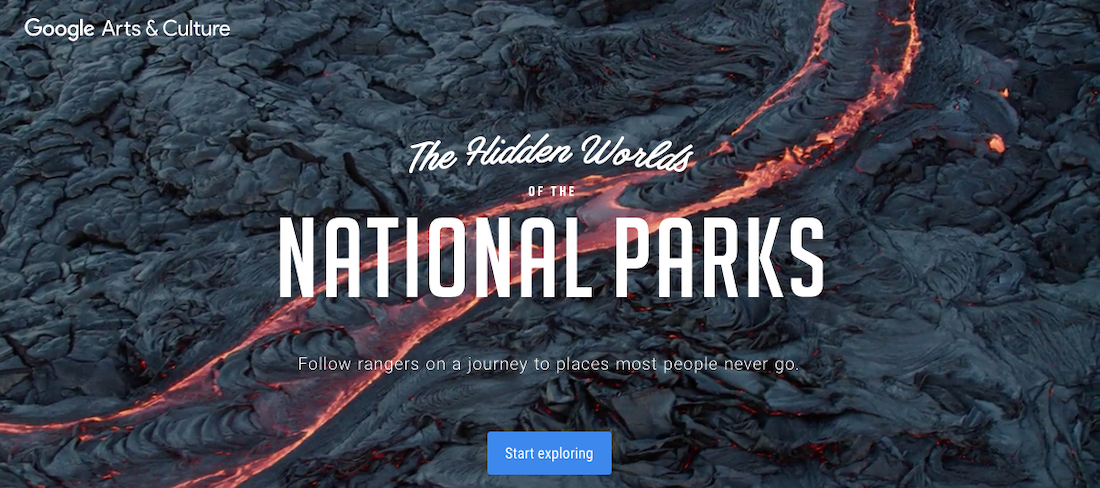 Image of the home page of Google Arts & Culture's National Parks site