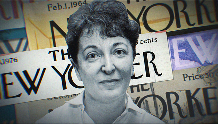 "head shot of film critic Pauline Kael with a background of ""New Yorker"" magazine covers"