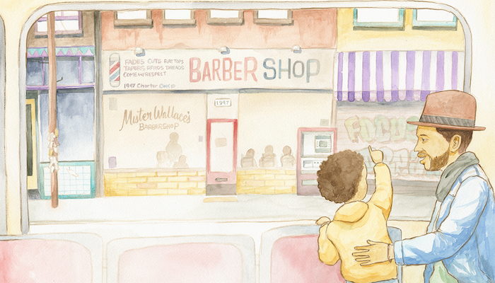 A young boy of color and his father stand in front of a barbershop in an illustration from Robert Liu Trujillo's book Furqan's First Flat Top