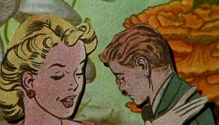 Female and male vintage comic book characters in a scene from collage animator Lewis Klahr's film Pony Glass