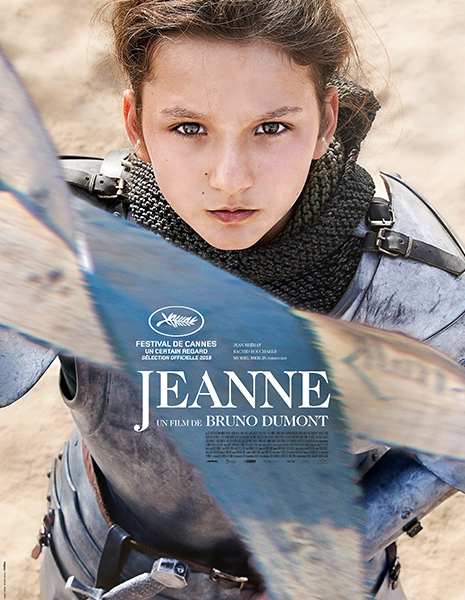 Movie poster featuring  Lisa Leplat Prudhomme as Joan of Arc in knight's armor, holding a banner in front of her