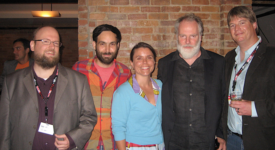 Chris Stults, Mike Olenick, Jennifer Lange, Guy Maddin, and Dave Filipi after the world premiere of Keyhole in Toronto