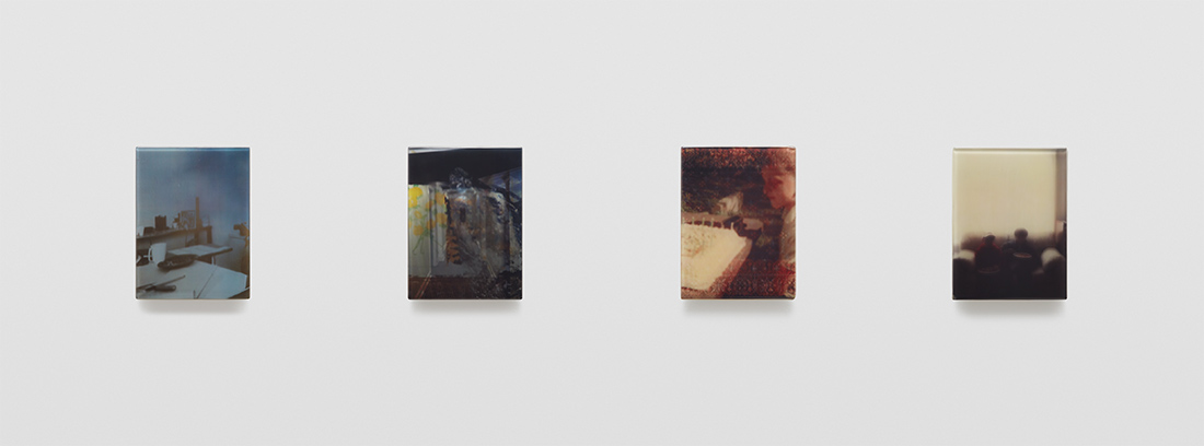 Four discrete mixed media panels of sequence 7 in artist Sadie Benning's Pain Thing