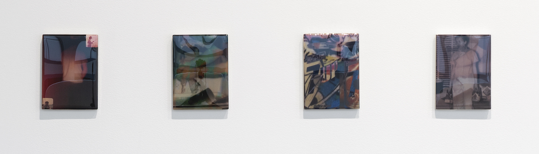 Four discrete mixed media works in Sequence 6 of artist Sadie Benning's Pain Thing