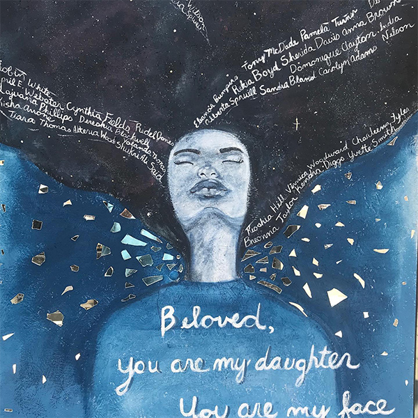 A mural by Columbus artist April Sturkey Sunami of a woman's figure adorned with a quote from Toni Morrison's Beloved and the names of victims of police violence