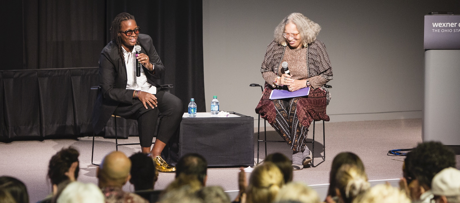 Mickalene Thomas talks with Beverly Guy-Sheftall at the Wexner Center for the Arts