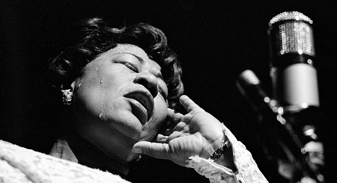 Ella Fitzgerald at the microphone