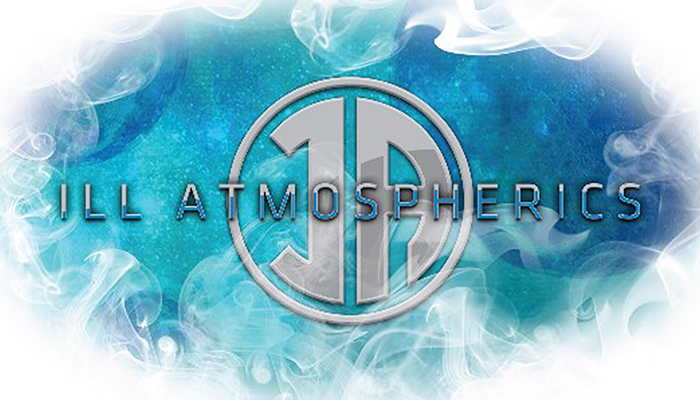 The Ill Atmoshperics wordmark, a stylized I and A, floats over a ground of blue and green circled by white smoke.