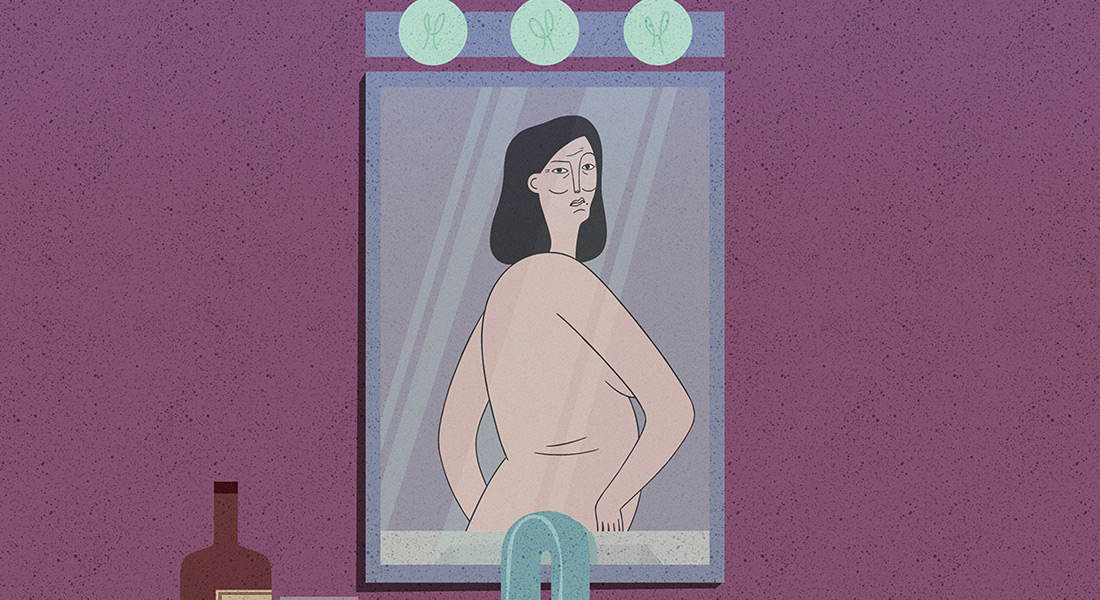 A woman examines her back in the mirror in the animated short Hot Flash
